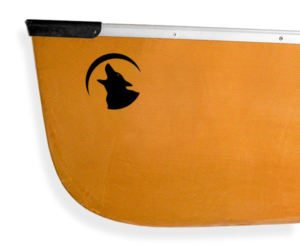 howling gray wolf crescent moon Kanuyak Decals and Stickers for Canoes, Kayaks, cars and trucks