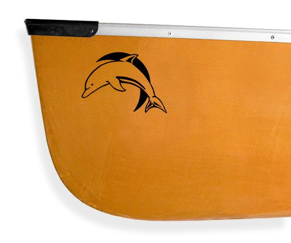 leaping dolphin porpoise crescent moon Kanuyak Decals and Stickers for Canoes, Kayaks, cars and trucks