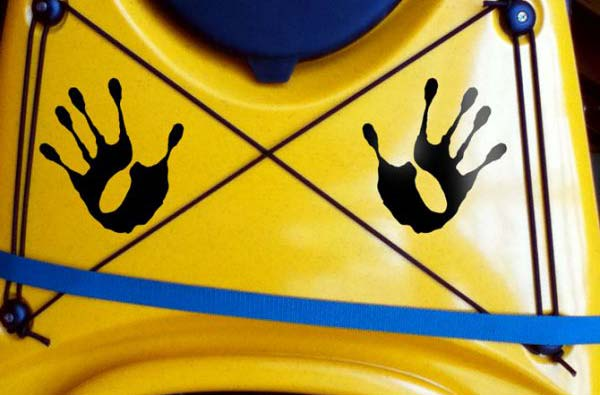 tribal hands paddle hands of river rat Kanuyak Decals and Stickers for Canoes, Kayaks, cars and trucks