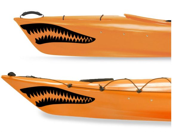 Kayak decal set graphic white sharks teeth Kanuyak Decals and Stickers for Canoes, Kayaks, cars and trucks