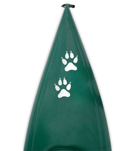 gray wolf paw track Kanuyak Decals and Stickers for Canoes, Kayaks, cars and trucks