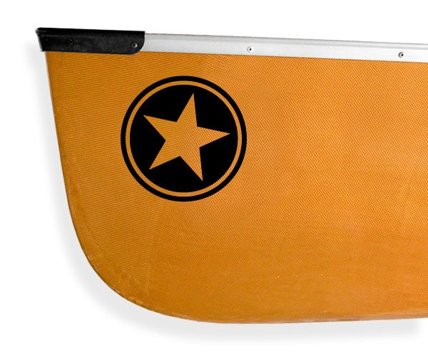 Voyageur canoe circle star Kanuyak Decals and Stickers for Canoes, Kayaks, cars and trucks